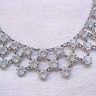Lovely Necklace Open Backed Unfoiled Crystals - Bridal