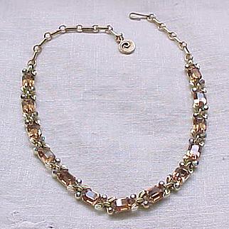 Gorgeous Lisner Rhinestone Necklace - Topaz Emerald Cut Stones