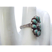 Native American Sterling, Turquoise Squash Blossom Ring - 6 3/4