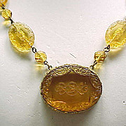 Molded Glass Necklace - Amber Color - Czechoslovakia - Exquisite