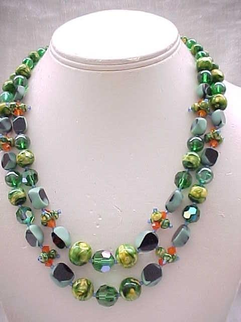 01 - Whimsical Necklace, Clip Earrings - Art Glass, Crystals