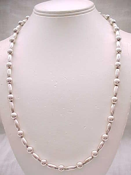 Lovely Sterling Necklace with Tube Beads and Round Beads