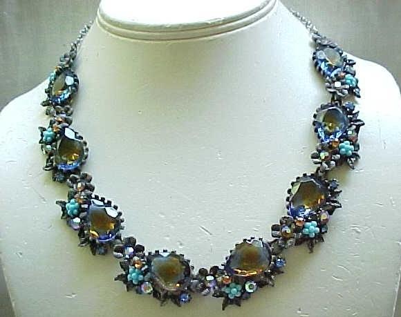 Fabulous ART Necklace, Earrings - Tourmaline Rhinestones, Faux Turquoise