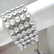 Glamorous Rhinestone Bracelet - Mega Glitz - New Old Stock