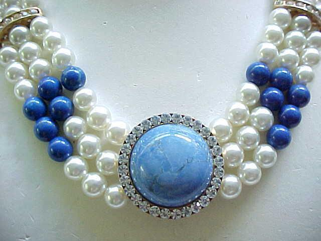 02 - Lovely Faux Pearl Necklace, Earrings Rhinestones, Natural Stone Centers - Blue