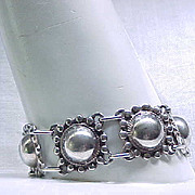 Well Made Sterling Bracelet Domed Shaped Links, Safety Chain