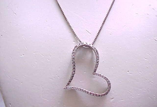 10 - Sterling Silver Heart Necklace with CZ's