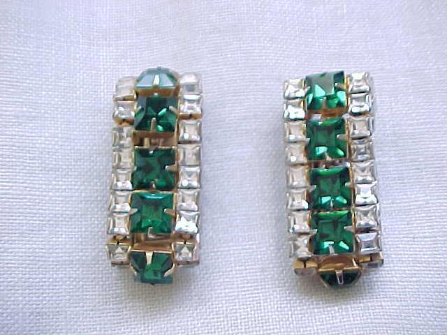 01 - Double Sided Rhinestone Earrings - Square Rhinestones Emerald Green & Diamante