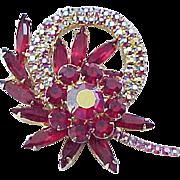 Gorgeous Rhinestone Pin - Deep Rose Rhinestones, Pink Aurora Borealis