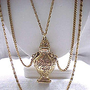 Goldette Urn Shaped Necklace with Draped Chains