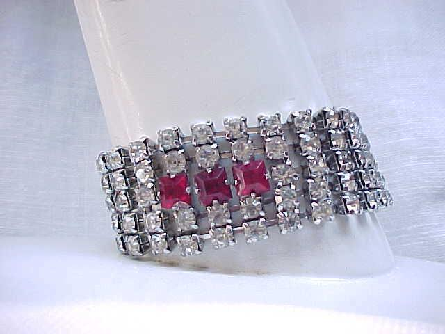 Diamante Rhinestone Bracelet with 3 Square Red Stones