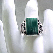Sterling Silver & Malachite Ring - 10 3/4 - Native American
