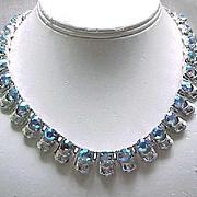 Gorgeous Coro Aurora Borealis Rhinestone Necklace - Silvertone Metal