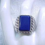 Large Sterling Ring - Outstanding Blue Stone - Size 12