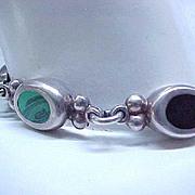 Sterling Silver, Onyx & Malachite Bracelet