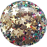 07 - Confetti Lucite Clip Earrings with Gold Stars