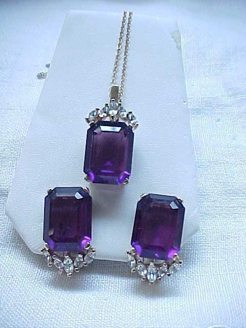 Lovely Panetta Purple Pendant & Matching Earrings