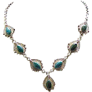 Dramatic Sterling Necklace Natural Stones - 950 Silver