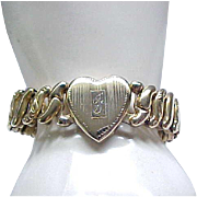 LaMode Sweetheart Expansion Bracelet - Engraved with F