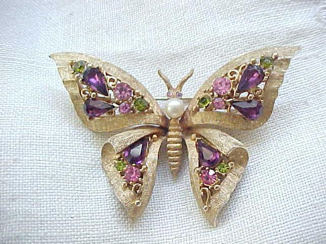 Pretty Butterfly Pin - Purple, Pink, Peridot Rhinestones