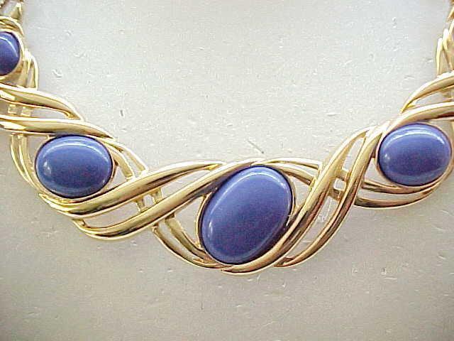 Monet Necklace Beautiful Blue Cabochons