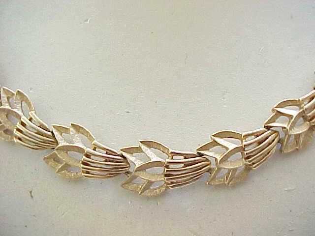 10 - Trifari Necklace & Ear Clips - Textured & Shiny Goldtone