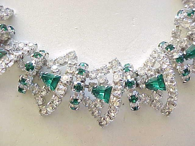 Extraordinary Rhinestone Necklace, Bracelet - Diamante and Emerald Green