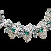 Extraordinary Rhinestone Necklace, Bracelet - Diamante and Emerald Green