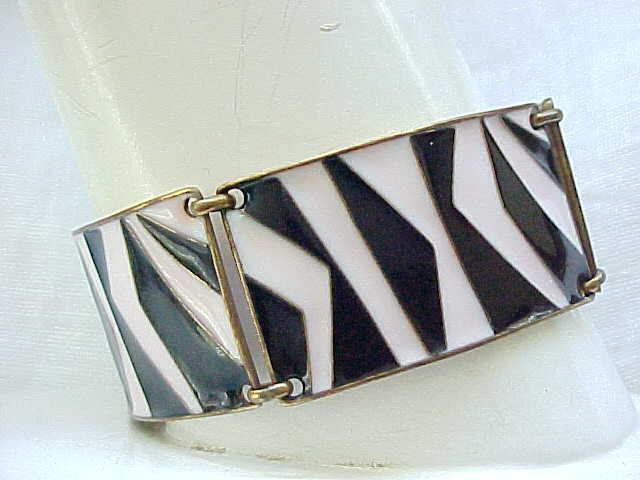 Cool Pink & Black Enamel Bracelet, Earrings - Mid Century