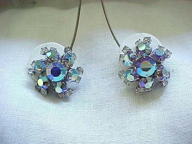 10 - Glitzy Huge Rhinestone Earrings, Aurora Borealis
