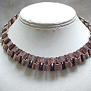 Copper Renoir Necklace & Earrings - Geometric Design