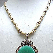 Fab Czech Necklace Molded Glass Pendant