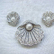 Kramer of N Y Shell Pin & Earrings - Pave' Set Rhinestones, Faux Pearls