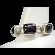 Massive Sterling & Onyx Bracelet