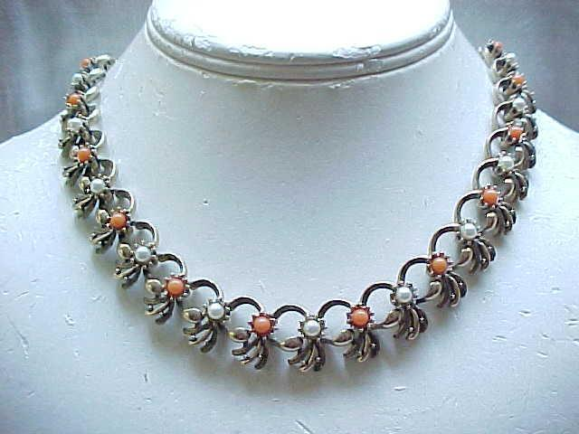 Necklace, Bracelet, Earrings Faux Pearl & Faux Coral - Lovely