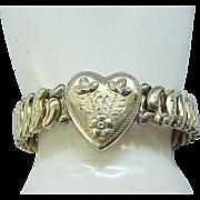 Sweetheart Expansion Bracelet Repousse' Floral Design - Victoria