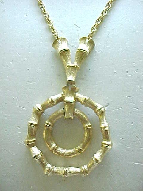 11 - Faux Bamboo Pendant Necklace, Clip Earrings - Taylor LTD