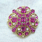 Fabulous Eisenberg Ice Hot Pink Rhinestone Brooch Pin