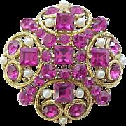 Fabulous Eisenberg Ice Hot Pink Rhinestone Brooch Pin
