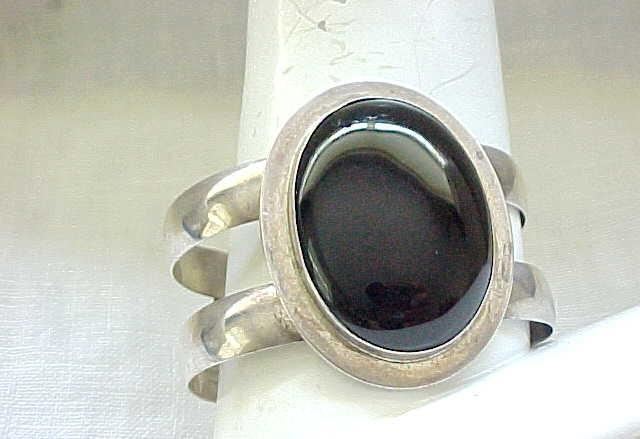 Magnificent Sterling & Onyx Cuff Bracelet - Morningstar