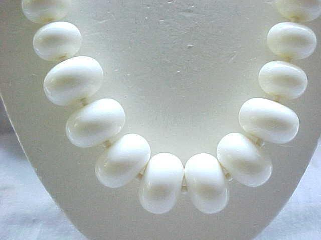 10 - Perfect Long Summer Necklace - Interesting Big White Beads