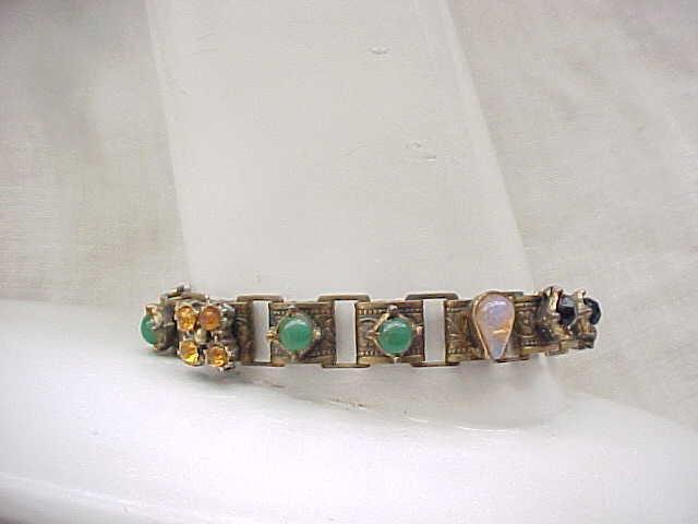 10 - Narrow Bookchain Bracelet - Cabochons & Rhinestones