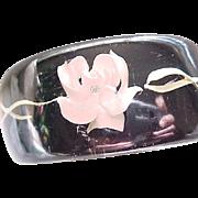 Awesome Reversed Carved Lucite Bracelet Black, Pink Roses