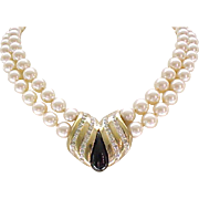 Stunning Panetta Necklace Faux Pearls, Gorgeous Centerpiece