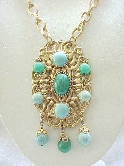 Show Stopping Necklace - Aqua and Green Beads, Cabochons