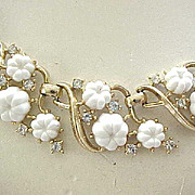 Lovely Trifari White Flower Necklace, Bracelet - Rhinestone Accents