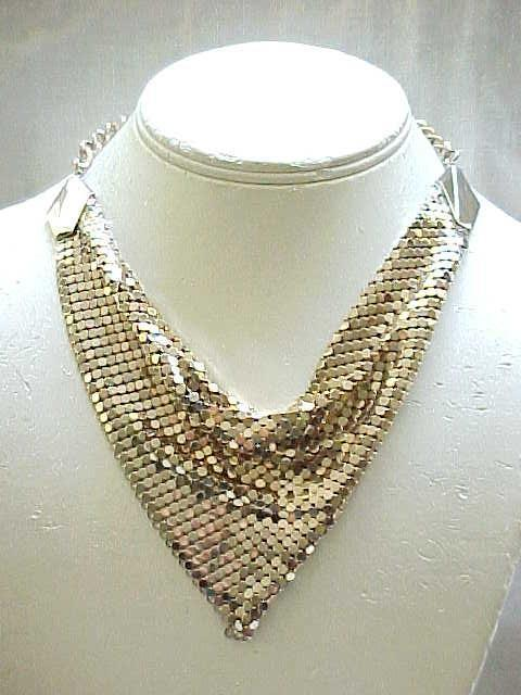 10 - Goldtone Mesh Bib Necklace, Earrings