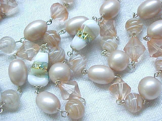 10 - Long Necklace Pale Pink Art Glass, Venetian Beads