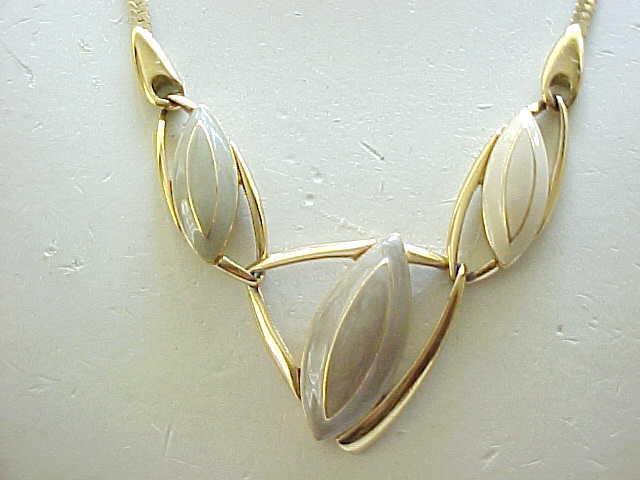 Trifari MOD Necklace Taupe, Cream