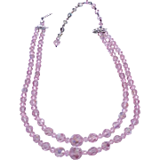 09 - Double Strand Pink Crystals Necklace - Adjustable Size